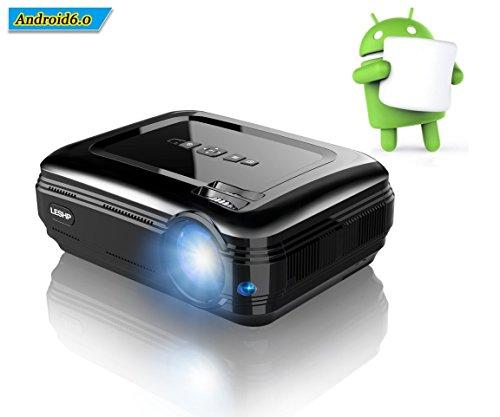 LESHP Proiettore, Android 6.0, Blutetooth 4.0 1GB RAM/8GB ROM, Lampada LED da Lumen 3200 Contrasto...