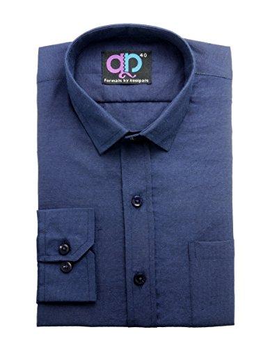 Koolpals Men's Formal Shirt (KPMS_FP01_42NB_42_Blue)