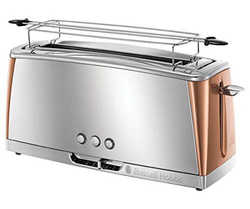 Russell Hobbs Grille-Pain, Toaster Spécial Baguette Luna, Technologie Cuisson Rapide, Chauffe Viennoiserie Inclus - Cuivre 24310-56