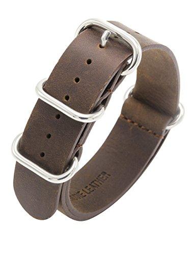 Cinturino Nato Cavallo Pazzo Cinturino Pelle 18mm 20mm 22mm Cinturini Orologi in Vera Pelle Zulu Militare Premium con Fibbia in Acciaio Inossidabile (20mm, Marrone scuro)