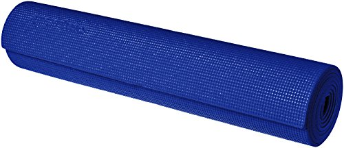 AmazonBasics - Tappetino per yoga e allenamenti, con cinghia di trasporto, 0,63 cm, Blu