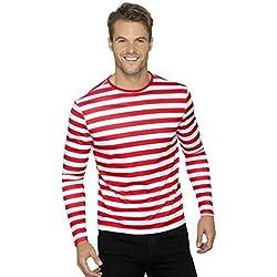 """Smiffy's Smiffys-46830L Camiseta de Payaso siniestro de Manga Larga Color Rojo L - Tamaño 42""""-44"""" 46830L"""