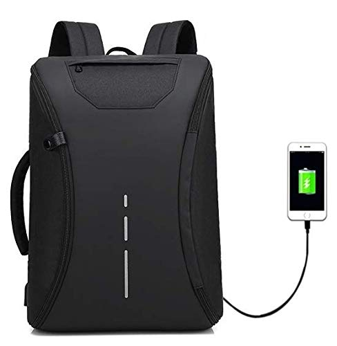 Deals Outlet 360 Degree Open Smart Anti Theft Backpack with Inbuilt USB Charging Port 15.6-17 Inch Waterproof Black Laptop Bagpack