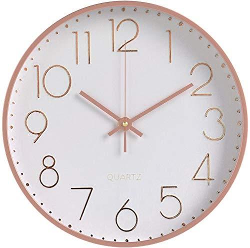 Foxtop 12 pollici grande decorativo Orologio da parete oro rosa moderno silenzioso per cucina Living Room Camera da letto, 30 cm
