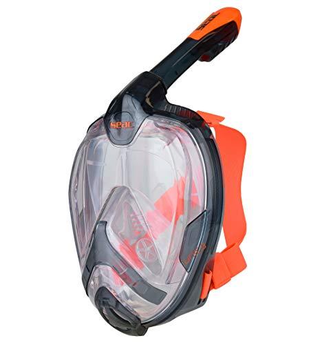Seac Unica ad, Maschera Snorkeling Integrale a Pieno Volto Unisex - Adulto, Nero/Arancione, L/XL