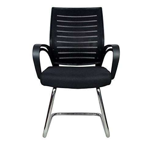 Rajpura Boom Medium Back Visitor Chair in Black Fabric and Black mesh/net Back Office Executive Chair