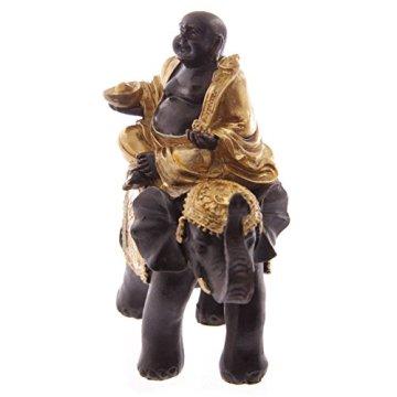 Puckatour Set de 2 Figuras Decorativas de Buda Montando en Elefante, Color Dorado y marrón 5