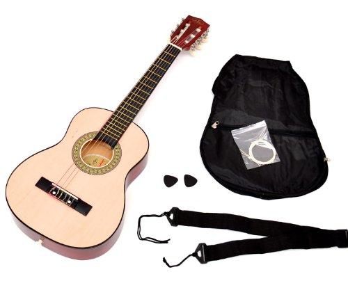 Guitarra acústica infantil para niños de 4 a 7 años (tamaño 1/4). Incluye funda, correa y cuerdas