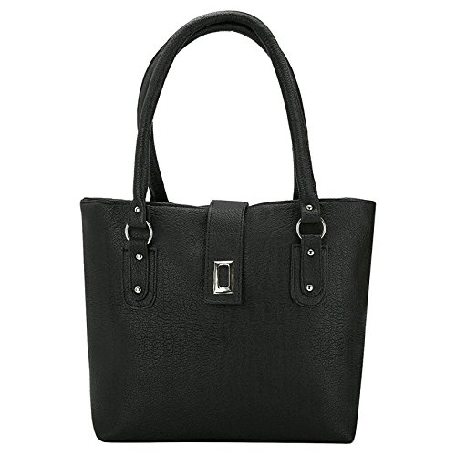 Typify Casual Shoulder Bag Magnet Button & Zip Closure Women & Girl's Handbag (Black)