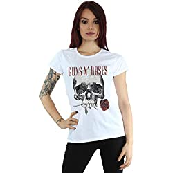 Guns N Roses mujer Flower Skull Camiseta Medium Blanco