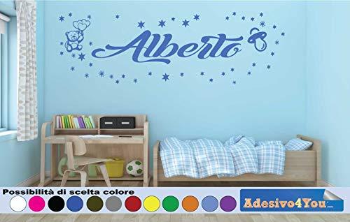 Adesivi Murali Bambini Nome personalizzato con Orsetto, stelline e Albero.Adesivo Nome Wall Stickers Personalizzato Decorazione Cameretta per Bambino. Adesivo4You