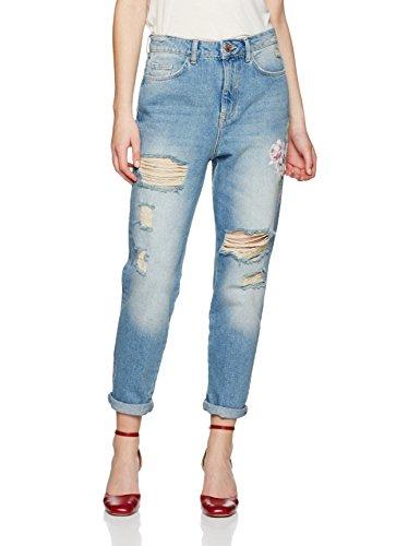 New Look Damen Straight Jeans Floral, Blau (Mid Blue 40),   36 EU (8...