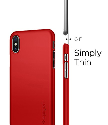 Spigen Cover iPhone X, [Thin Fit] Custodia iPhone X con Rivestimento Opaco in Finitura Opaco per Apple iPhone X (2017) – Metallic Red – 057CS22109