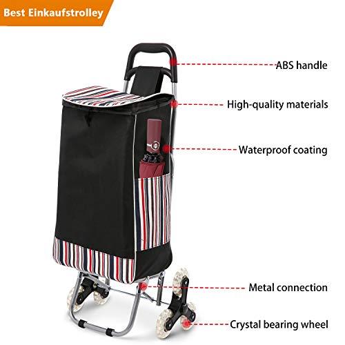 Voluker 32L klappbar Einkaufstrolley with Noiseless Rubber Tri-Wheels, 150 lbs Lebensmittel Einkaufswagen Treppensteiger Versandtasche Größe 13 x 7,1 x 21,3 Zoll