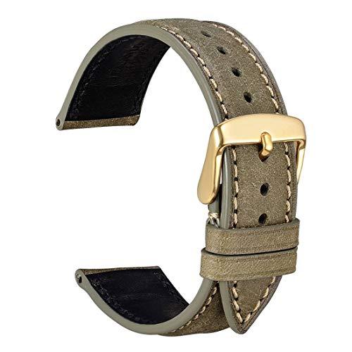 WOCCI 22mm Cinturini per orologio in Pelle con Fibbia Oro, Accessori Da Orologio Ricambio (Oliva di Verde)