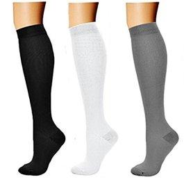 3 coppie Calze a compressione per uomo e donna, calze a compressione graduata 15-20 mmHg per crossfit, maternità, atletica, da viaggio, infermieri – aumenta la resistenza, pratica e recupero