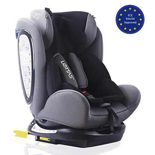 LETTAS Seggiolino auto gruppo 0+1/2/3 Fascia d'età: Bambini da 0 mesi a 12 anni - da 0 a 36 kg,reclinabile 4 posizioni - protezioni laterali - poggiatesta regolabili ECE R44/04-Nero