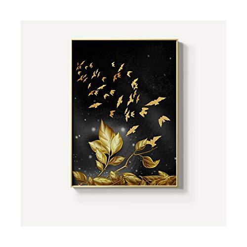FASLHDWSD Abstracto Mariposa de Oro Pintura Moderna Póster e Impresión para Aisle Wall Art Imagen para salón Studio Decor, F, 20x28cm (No Frame)