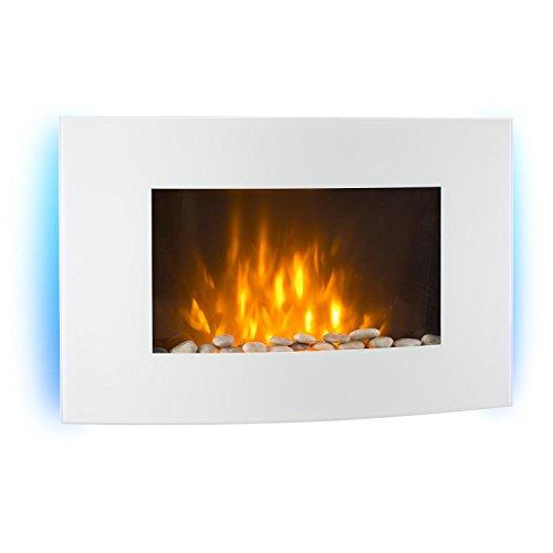 Klarstein Lausanne • horizontaler Elektro Wandkamin • 1000 oder 2000 Watt Leistung • elektrischer Heizlüfter • Aus Glas • Flammenillusion • Fernbedienung • weiß