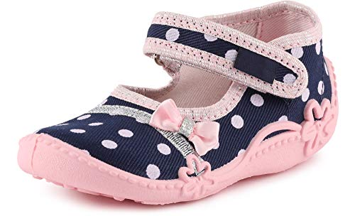 Ladeheid Pantofole a Strappo Bambina LAVI0001 (Blu Navy/Dots, 18 EU)