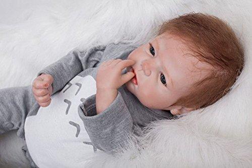 ZELY 22 inch reborn bambole silicone vinyl Realistiche maschio dolls occhi aperti Neonato Magnetico Giocattolo