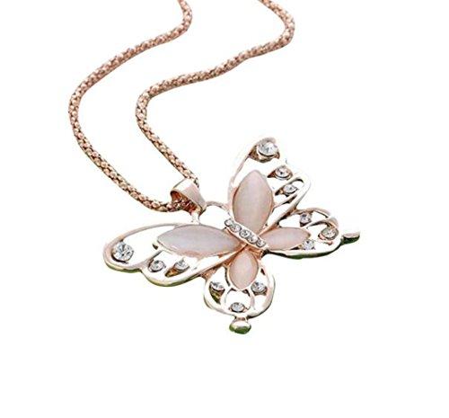 LHWY Mujer SeñOra Rose Gold Opal Mariposa Colgante Collar Cadena SuéTer Caliente Oro
