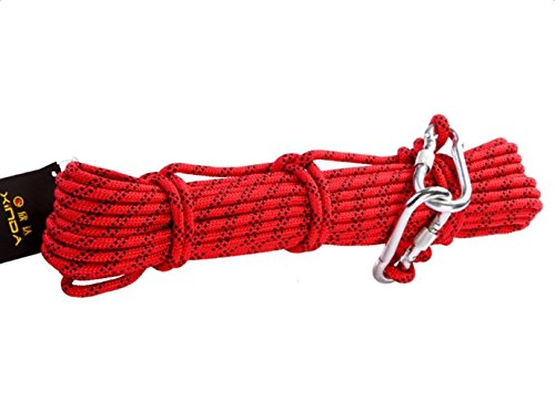 Babimax Cuerda de Escalada Diámetro de 8mm 9 KN Poliéster+Nylon Alta resistencia 10 Metros Cuerda Rescate para Alpinismo Acampada (10 Metros)