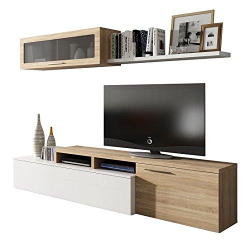 Esidra Mobile Soggiorno Parete attrezzata Porta TV, Rovere, 200 x 44 x 41 cm
