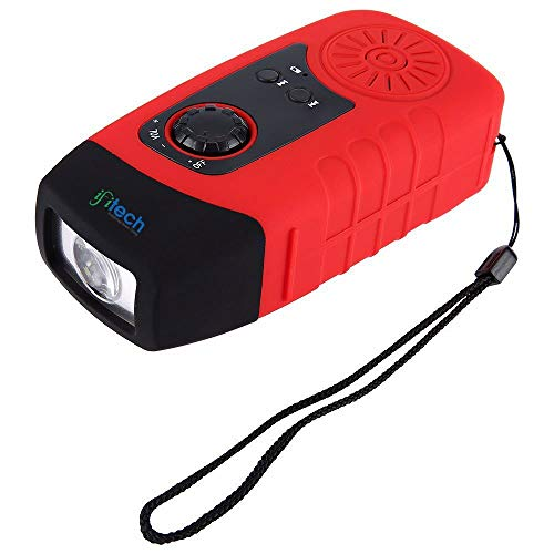 IFITech® Portable Dynamo Emergency Solar Crank FM Radio with LED Flashlight, Cell Phone Portable Charger