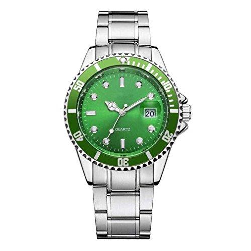 Fittingran Orologio da Uomo con Calendario Orologio da Polso analogico al Quarzo Sportivo con datario in Acciaio Inossidabile (Verde)