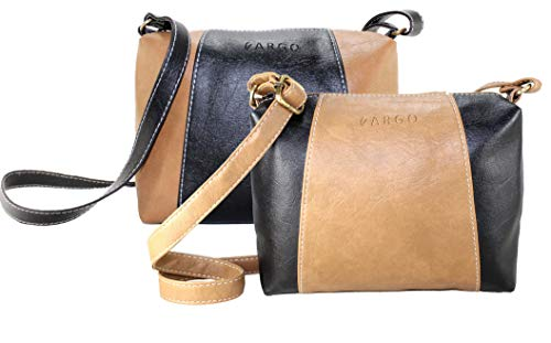 Fargo Motley PU Leather Women's Girl's Sling Bag Combo Of 2 (Black,Beige_FGO-091)