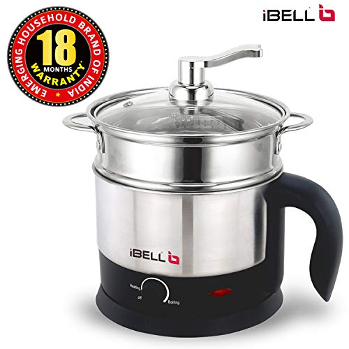 iBELL MPK120L Stainless Steel Multi Purpose Kettle/Cooker with Inner Pot 1.2 Litre (Silver)
