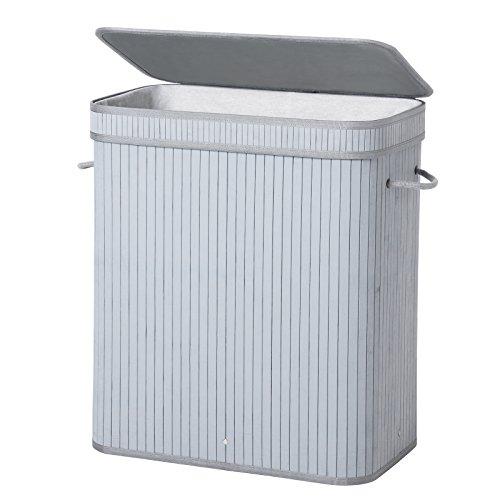 SONGMICS Wäschekorb Wäschebox Wäschekiste Wäschesammler mit Deckel aus Bambus Faltbar Wäschetonne mit herausnehmbarem Wäschesack 100L, Reines Grau LCB61GY