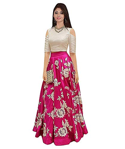 Hirva Collections Women's Crepe Lehenga Choli (Shardhha Pink Dress _Pink_ Free Size)