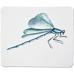 Yanteng Gaming Mouse Pad Dragonfly, Dibujados a Mano Acuarela Dragonfly Figure con Grunge Influencias turbias Imagen Decorativa, Azul Claro Borde Cosido