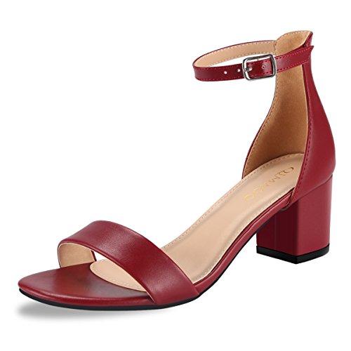 19a8de197cda12 Qimaoo Damen Riemchensandalen 6cm Blockabsatz Sandalen Knöchelriemen  Sandaletten Sommer High Heels Schuhe mit Absatz - Weinrot - 40 EU