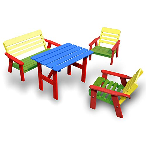 HolzFee Bunte Kinder-Sitzgruppe Garten Tisch Bank Stühl