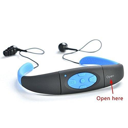 Sport - Mp3 Para Correr, Impermeable, Reproductor De Música Mp3, Audífonos Con Radio Fm, Uso De Natación, Surf Y Buceo, 8GB De Memoria (Azul)