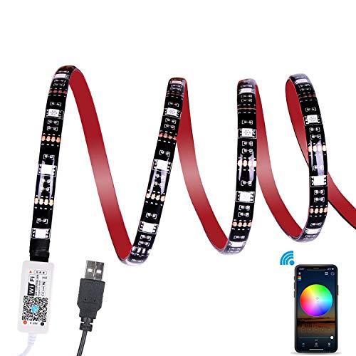 Wi-Fi Striscia LED TV Retroilluminazione, ALED LIGHT 2,2M RGB USB Kit Luce Striscia Impermeabile APP Controlled 5050 Luce Corda Multicolore Lavoro con Alexa, Google Home per PC, Casa (2x 50cm+2x 60cm)