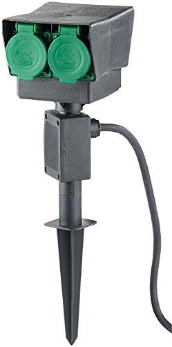 Royal Gardineer Outdoor Steckdose: 4-fach-Garten-Steckdose mit Erdspieß, spritzwassergeschützt IP44 (Steckdose Außen)