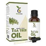 Natura Pur Olio di Tea Tree biologico 50 ml - Olio Essenziale puro e naturale Australiano al 100% - supporto contro Imperfezioni della Pelle, Acne e Punti Neri, Funghi delle Unghie