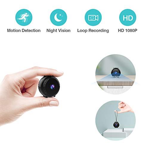 Mini Telecamera Sorveglianza Spia KEAN Full HD 1080P Portatile Micro Nascosta Microcamera con Visione Notturna Rilevamento di Movimento Registrazione in Loop per Esterno/Interno