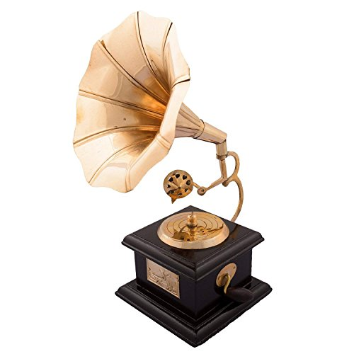 Obbi Handmade Square Gramophone Showpiece, Vintage Design Brass Gramophone Phonograph - 23 cm - Dummy