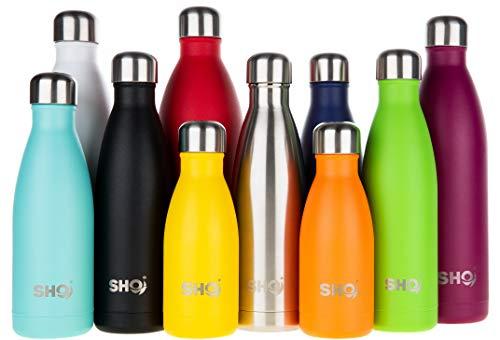 SHO Bottle - Perfekte Vakuumisolierte, Doppelwandige Trinkflasche + Wasserflasche - Aus Hochwertigem Edelstahl - 24 Std Kühlen & 12 Std Warmhalten - BPA frei (Aqua 2.0 - Powder Coated, 500ml)