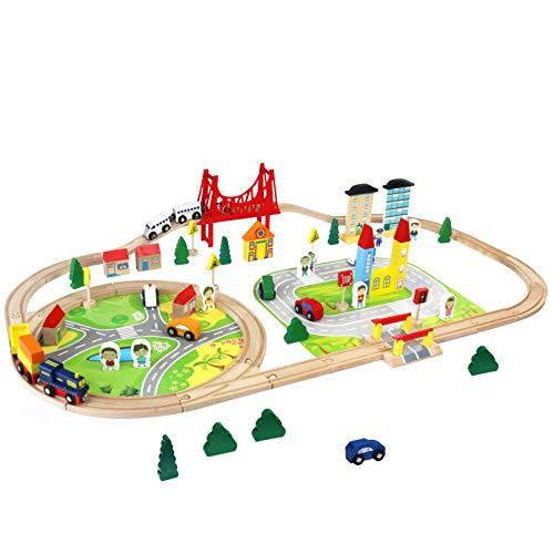 Trenino in Legno Giochi Pista Macchinine Ferrovia in Legno Auto Treno Costruzioni Puzzle per Bambini...