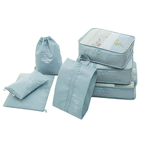 Styleys Packing Cubes 7 Set Lightweight Travel Nylon Luggage Organizers with Laundry or Toiletry or Shoe Bag (Sky Blue)