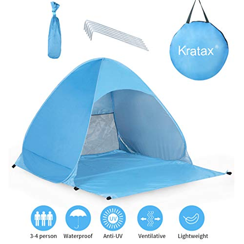 Kratax Tenda da Spiaggia Pop UP Parasole Spiaggia Protezione UV per 2-3 Persone Apertura Istantanea...