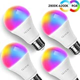 Smart LED Bulb E27 Glühbirne, TECKIN WLAN Lampen mit 16 Millionen mehreren Farben und warmes Licht 7.5W, ohne Hub, kompatibel mit Alexa und Google Assistant 800 Lumen(4er Pack)[Energieklasse A+]