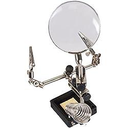 Silverline 282589 Lupa con pinzas profesional 60 mm, 3 x amplificación