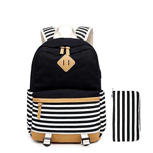 TITAP Fashion School Canvas Stripe Backpack Fits 17.7 Inch Laptop with USB Port Charge 1 Handbag Lunch Tote Bag for Teenager Girls